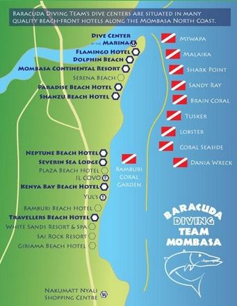 Катра дайвсайтов в Момбасе
